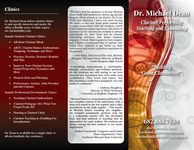 Dr. Michael Dean, Clarinet Performing, Teaching and Consulting Brochure