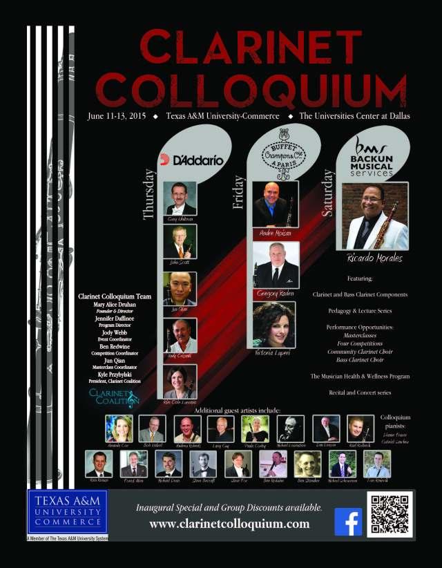 Clarinet Colloquium 2015 in Dallas, Texas June 11-13, 2015