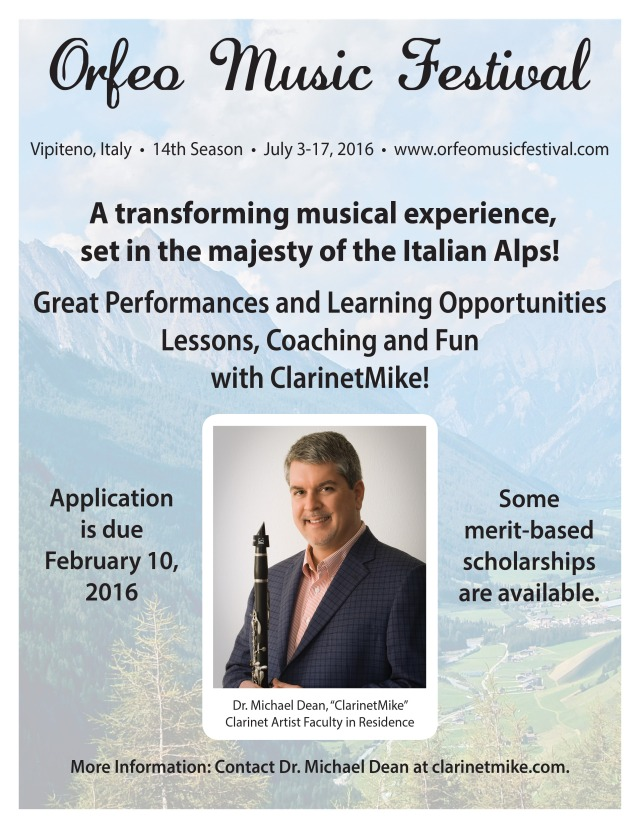 """ClarinetMike says, """"Please post and forward my super cool 'ClarinetMike In Italy' poster to all 7.3 billion people in the world plus others on nearby planets."""""""