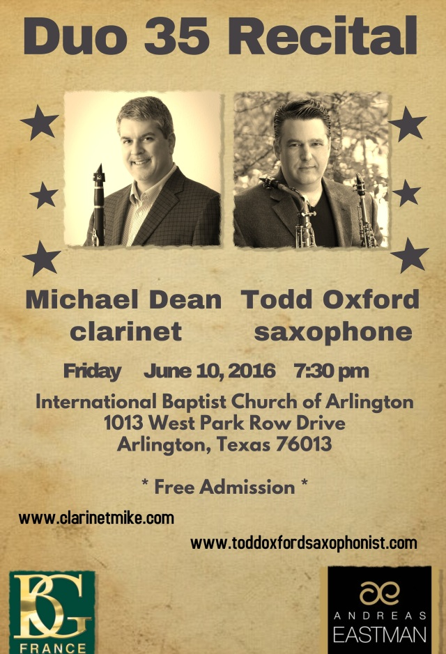 "ClarinetMike says, ""Hey DFW! Come to our recital!"""