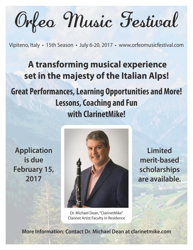 "ClarinetMike says, ""Please post and forward my super cool 'ClarinetMike In Italy 2017' poster to all 7.5 billion people in the world plus others on nearby planets."""