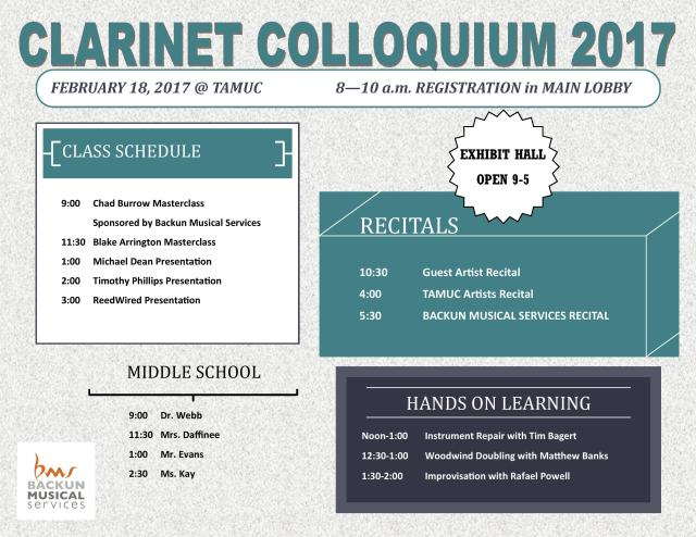 """ClarinetMike says, """"Hey! Come to my Master Class and Workshop on Music Preparation and Performance at the Texas Clarinet Colloquium 2017 on Saturday, February 18, 2017!"""""""